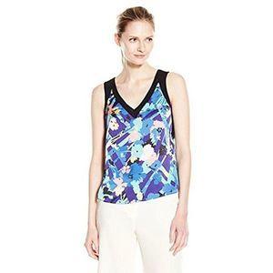 Anne Klein 6 Blue Floral Tank Top NWT